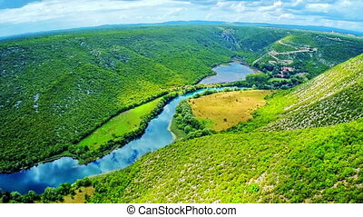 Krka river national park - aerial - Copter aerial view of...