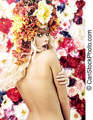 Surprised naked girl with the wreath - Surprised naked girl...