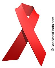 hiv - sign - 3d rendered illustration of a red hiv ribbon