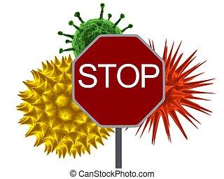 virus stop - 3d rendered illustration of different viruses...