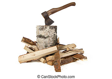 Image of axe in the birch stump and woods on white...