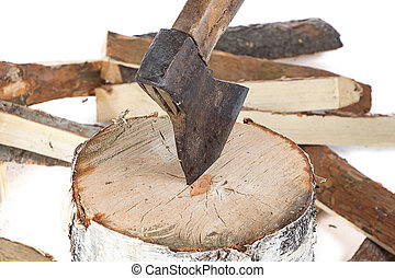 Image of axe in the stump and firewoods