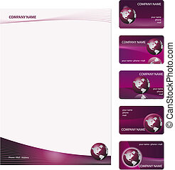Business Cards Template - Set of five purple business cards...