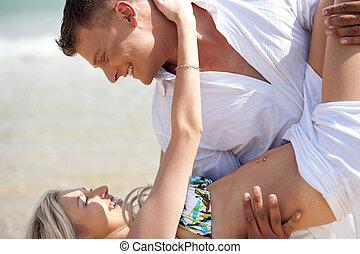 coppia, godere, spiaggia