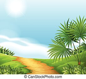 Scenery - Illustration of a scene of a countryside
