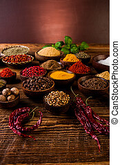 Indonesian seasoning with oriental wooden bowls -...