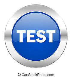 test blue circle chrome web icon isolated
