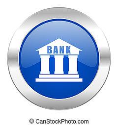 blå, Nät, krom, isolerat, cirkel,  bank, ikon