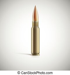 Single bullet Cartridge for rifle or AK 47 isolated on white...