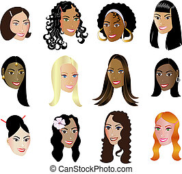 12 Women Faces Diversity with a colorful background.