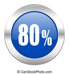 80 percent blue circle chrome web icon isolated