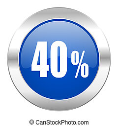 40 percent blue circle chrome web icon isolated