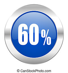 60 percent blue circle chrome web icon isolated