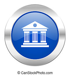 museum blue circle chrome web icon isolated