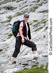 Female hiker in the alps.