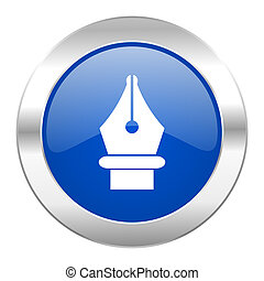 pen blue circle chrome web icon isolated