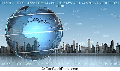 Business background with rotating planet, loop animation.