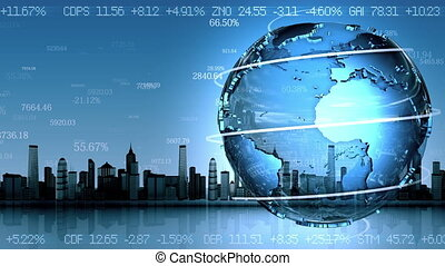 Business background with rotating planet, loop animation