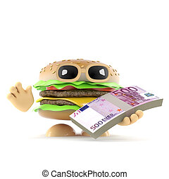 3d Burger has Euro banknotes - 3d render of a beefburger...