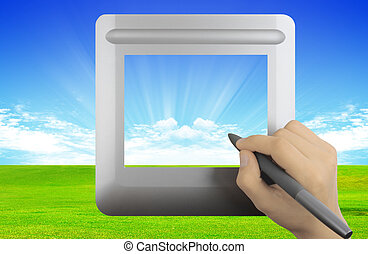 Tablet - Modern digital tablet with grass and clouds...