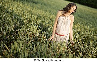 女, 若い, 収穫, シリアル, 肖像画, 耳