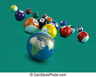3d Earth on a pool table - 3d render of a globe of the Earth...