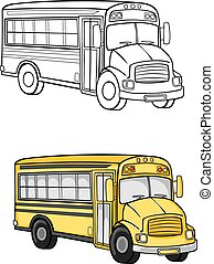 School bus - Yellow school bus in cartoon style for...