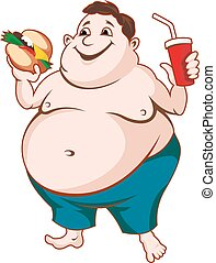 Fat man with fast food isolated on white background