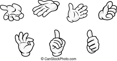 Cartoon hands with gestures isolated on white background....