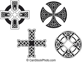 Celtic crosses - Set of celtic crosses for religion or...