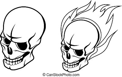 Skull with fire flame