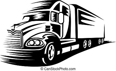 Moving truck - Delivery truck moving on road for...