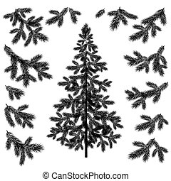 Christmas tree and branches silhouettes - Christmas fir tree...