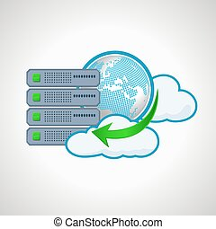 Cloud technologies. Computer icon server. design element.