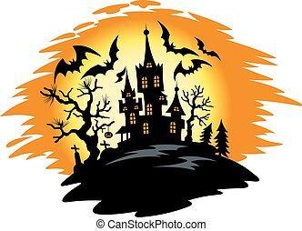 Halloween night - Dark castle on halloween night. Vector...