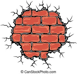 Cracked birck wall in cartoon style Vector illustration