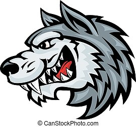 Angry wolf - Cartoon angry wolf head isolated on white...