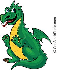 Fantasy green dragon kid in cartoon style Vector...