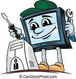 Computer repair service - Cartoon computer for repair...