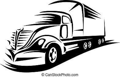 Big delivery truck - Delivery truck moving on road for...