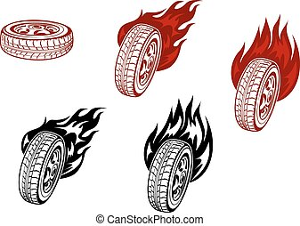 Wheels with fire
