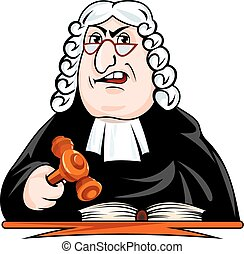 Judge make verdict. Vector illustration in cartoon style