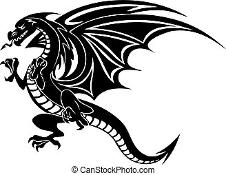 Angry black dragon tattoo isolated on white background....