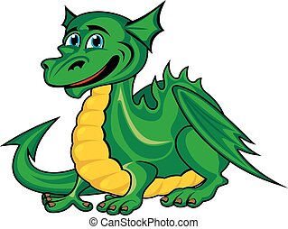Fantasy green dragon kid - Fantasy green dragon in cartoon...