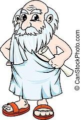 Ancient philosopher - Ancient greek philosopher in cartoon...