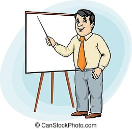 Businessman make presentation - Cartoon businessman make...
