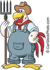 Farm rooster in cartoon style. Vector illustration