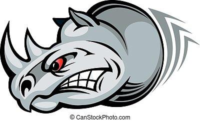 Wild rhino - Wild angry rhino for mascot design Vector...