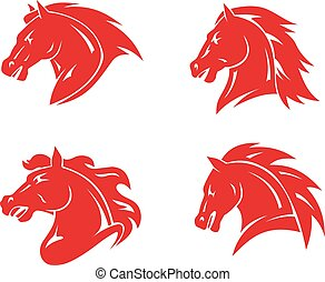 Horse tattoos - Red horse heads for mascot and tatoo design