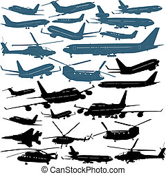 Airplanes - Illustrations of passenger airliners, millitary...